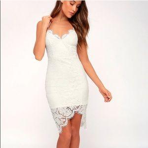 Lulu's White High/ Low Lace Dress